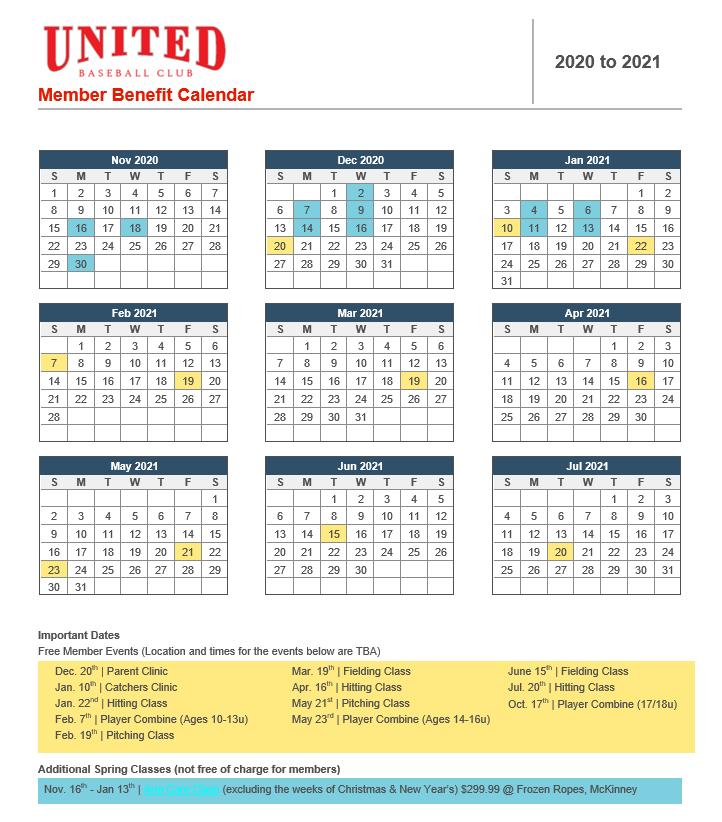 Member Benefit Calendar 2020-2021